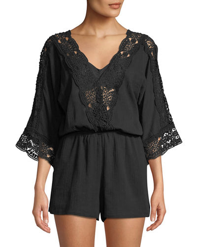 Island Goddess Crochet V-Neck Coverup Romper, Plus Size