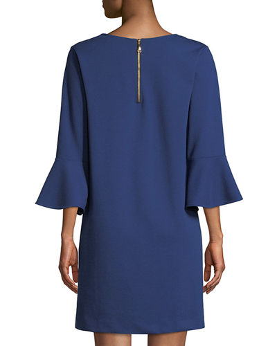 Petite Slit-Neck 3/4 Bell Sleeve A-Line Crepe Dress