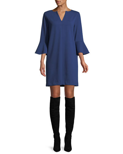 Slit-Neck 3/4 Bell Sleeve A-Line Crepe Dress, Petite