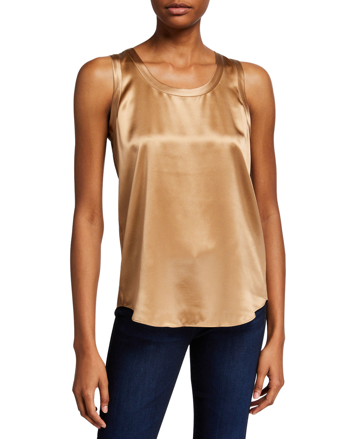 Lafayette 148 PERLA LUXE REVERSIBLE SILK CHARMEUSE SHELL
