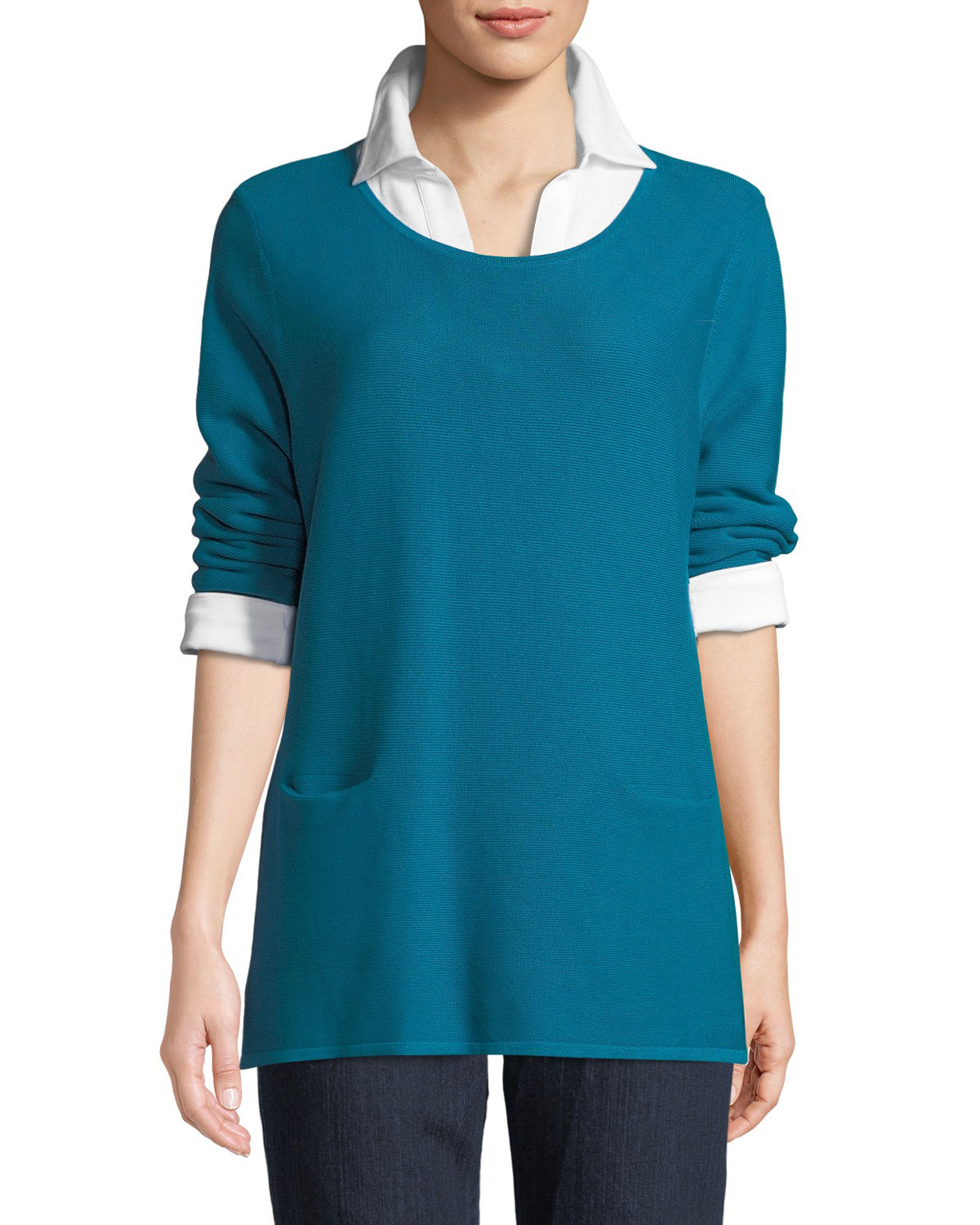 Two-Pocket Cotton Sweater, Plus Size