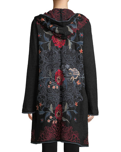 Bella Hooded Open-Front Embroidered Cardigan, Plus Size