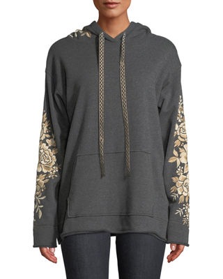 Johnny Was Ollena Embroidered Pullover Hoodie Sweatshirt, Plus
