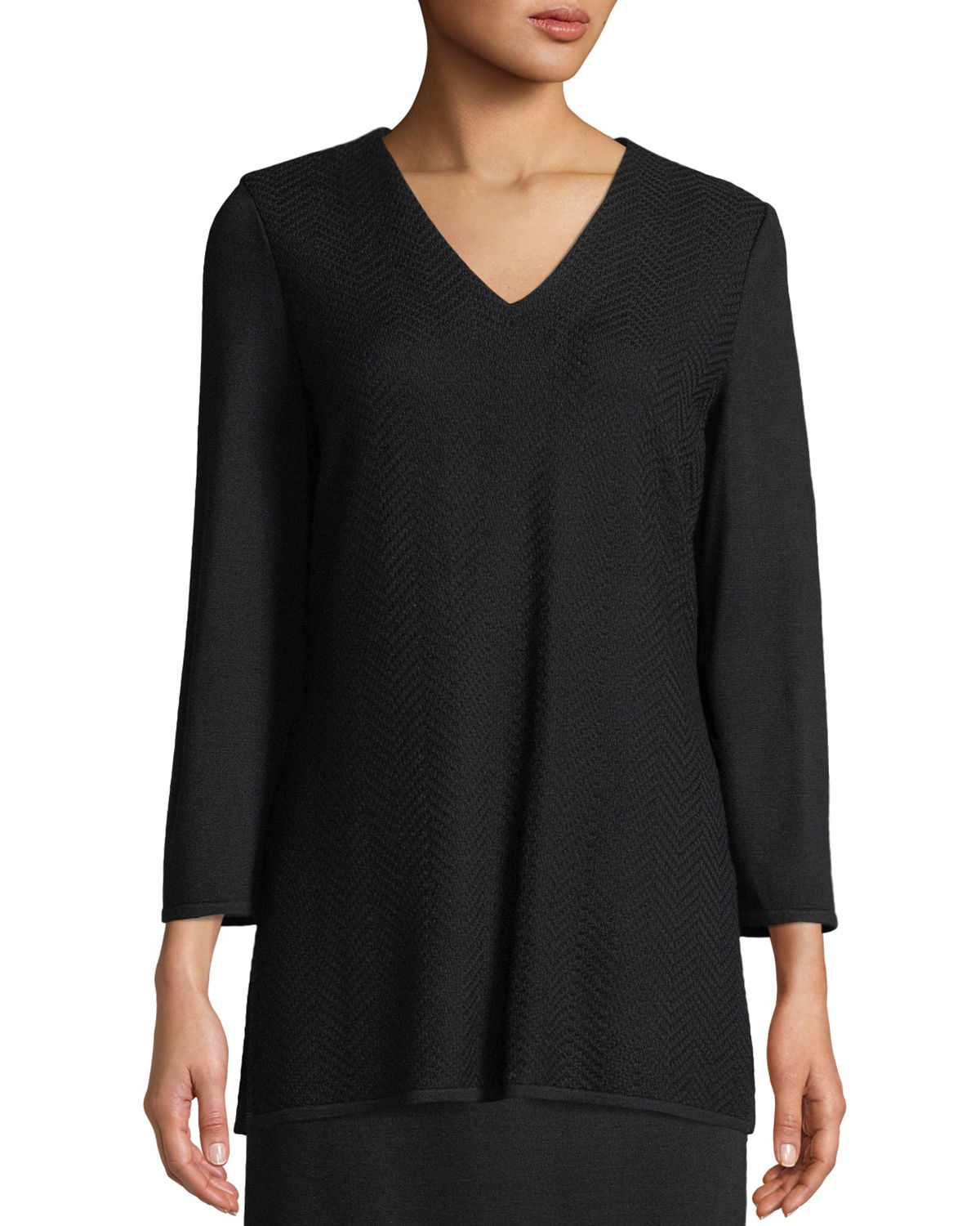 V-Neck 3/4-Sleeve Wool-Blend Sweater