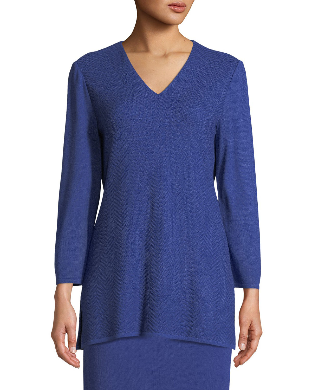 V-Neck 3/4-Sleeve Wool-Blend Sweater, Plus Size