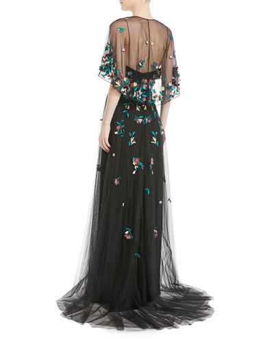 Floral Beaded Tulle Gown w/ Sheer Capelet