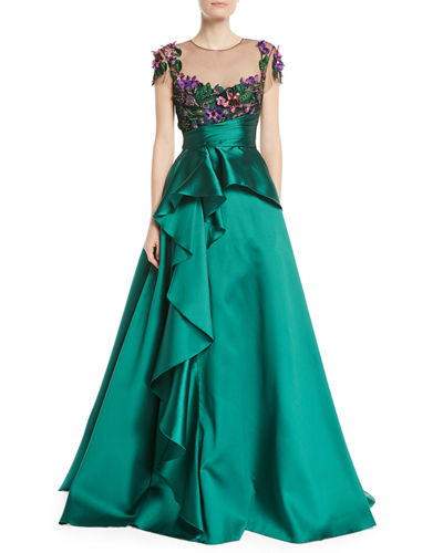 Marchesa Notte 3D Floral Embroidered Ball Gown w/