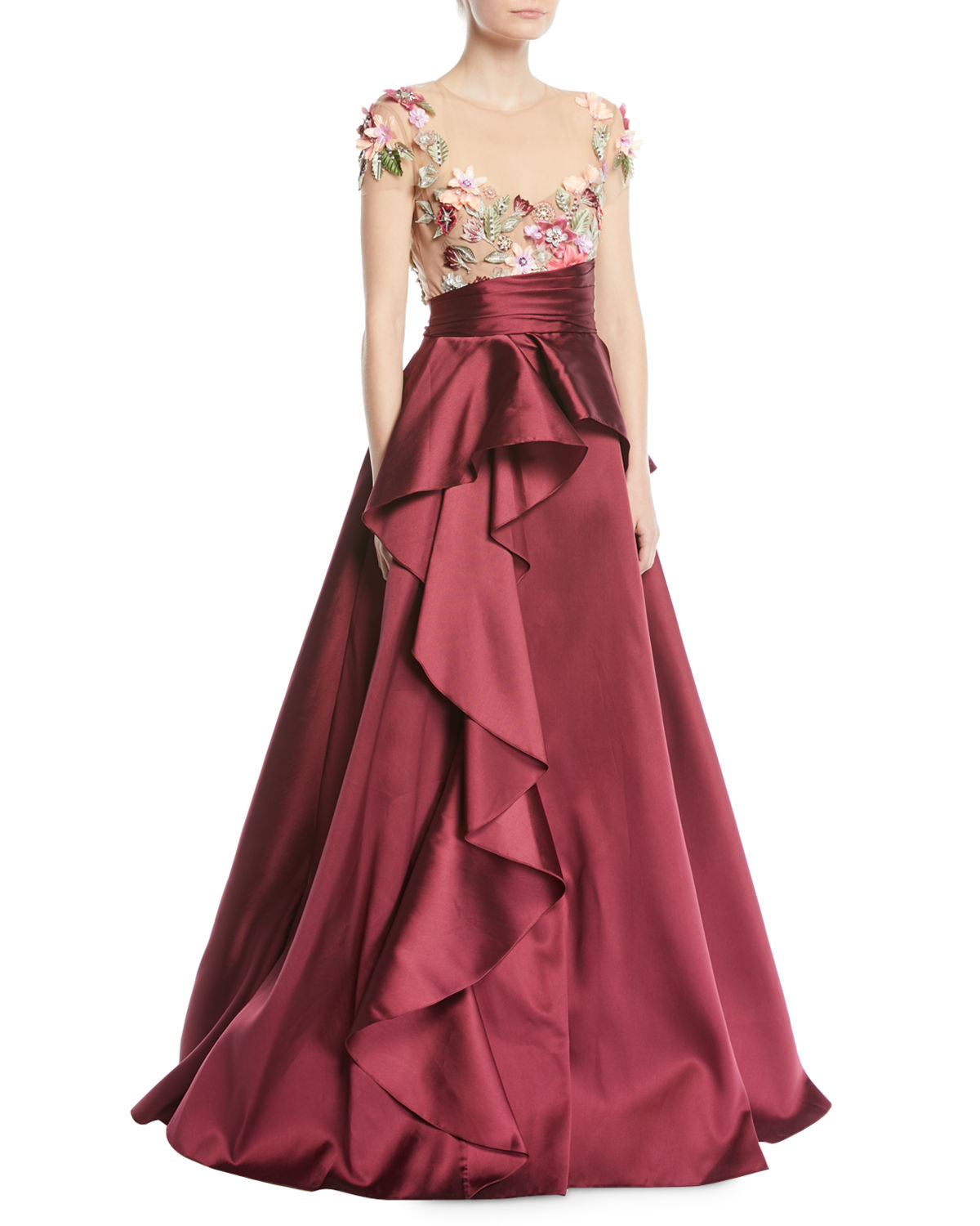 Marchesa Notte 3D Floral Embroidered Ball Gown w/ Cascade | Neiman ...