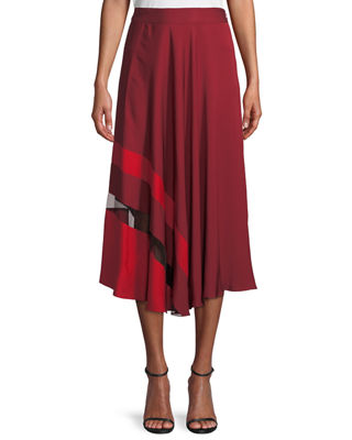 Asymmetrical Stripe Stretch Silk Midi Skirt in Burgundy/ Ruby