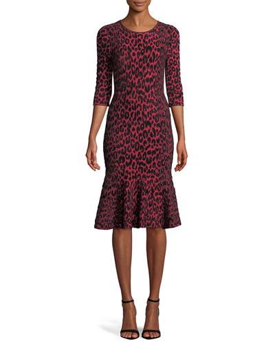 Textured Leopard Animal-Print Mermaid Midi Dress