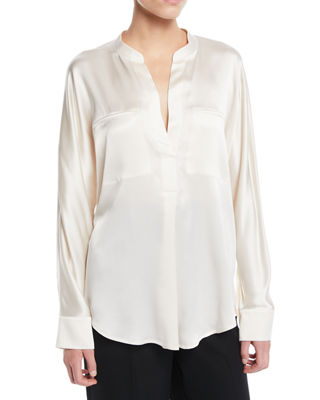Vince Band-Collar Silk Popover Blouse and Matching Items