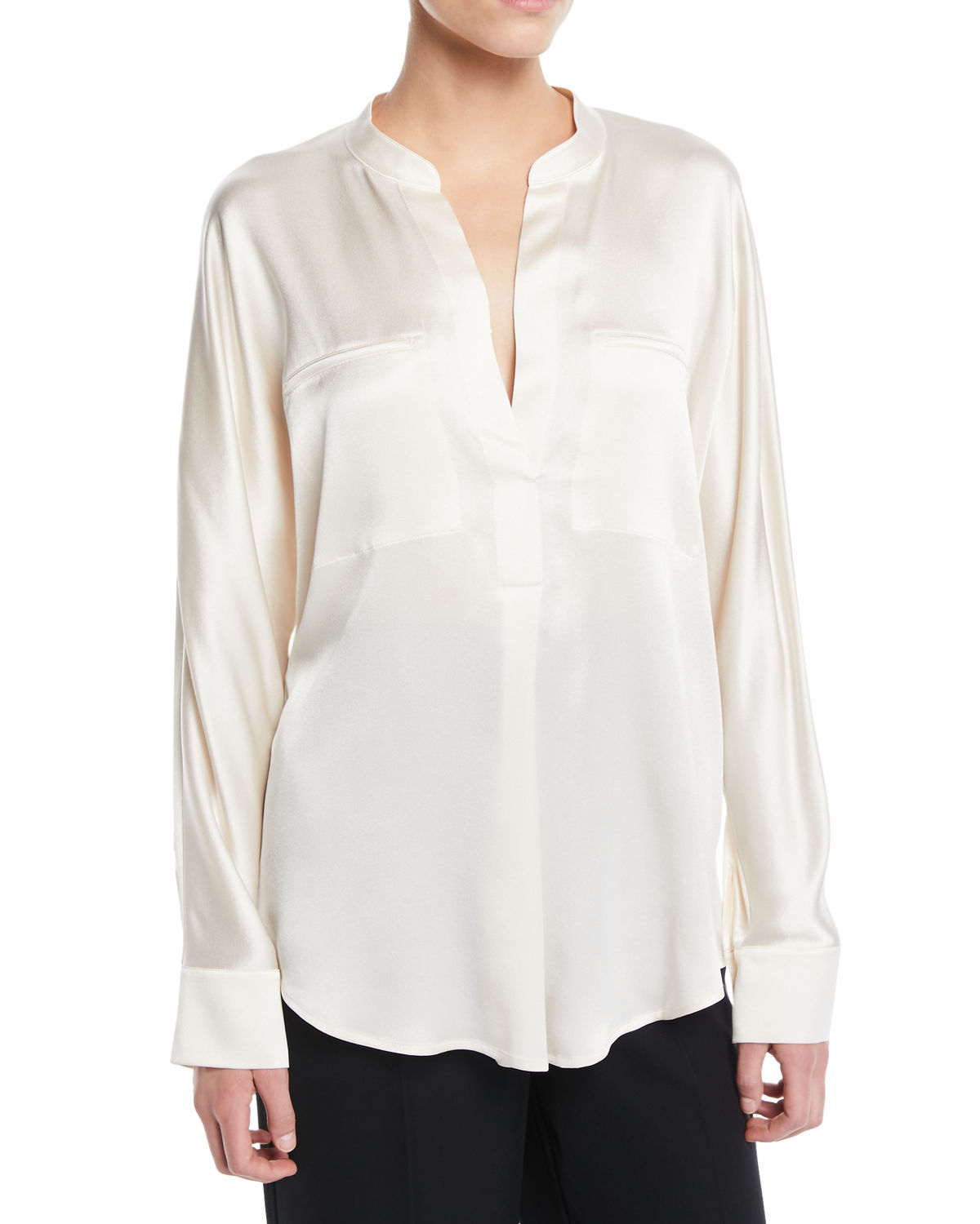c660a7c0e6f31 Vince Band-Collar Silk Popover Blouse