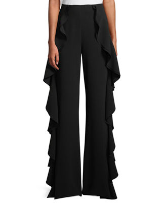 cinq a sept Saphir Ruffle Wide-Leg Pants
