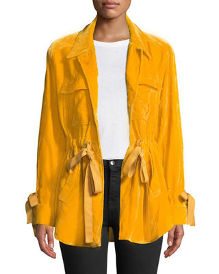 Mathieu Tie-Front Velvet Utility Jacket in Yellow