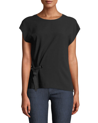 Etta Side-Tie Crewneck Top