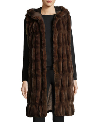 FABULOUS FURS Couture Faux-Fur Hooded Long Vest in Mahogany Mink