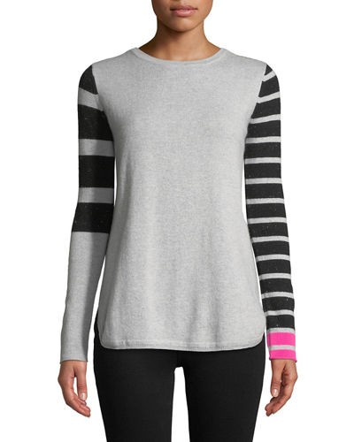 Classic Pop Striped Cashmere Sweater, Petite