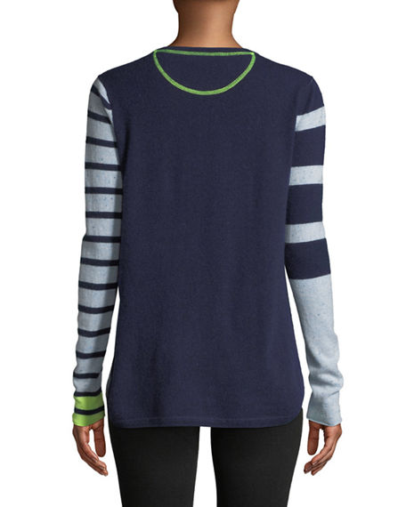 LISA TODD Cashmeres CLASSIC POP STRIPED CASHMERE SWEATER