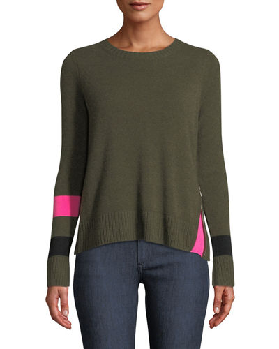 Sneak Peek Cashmere Sweater w/ Peekaboo Side Zipper