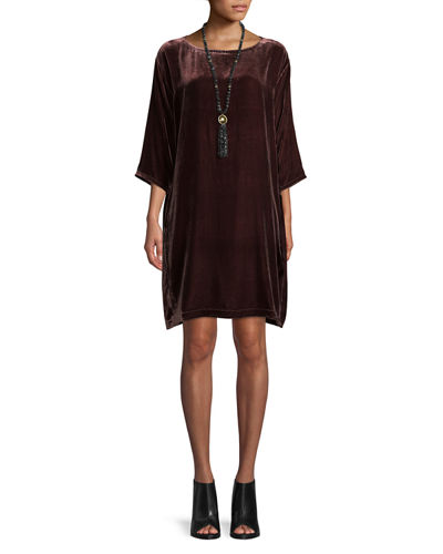 Petite Short Velvet Shift Dress