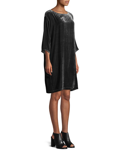 Short Velvet Shift Dress, Plus Size