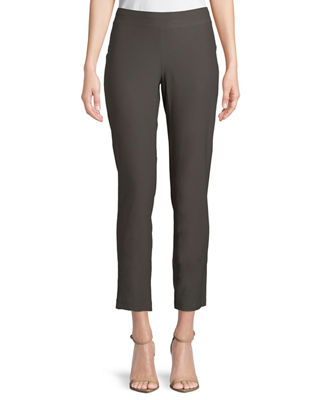 Eileen Fisher Washable Stretch-Crepe Slim Ankle Pants, Plus
