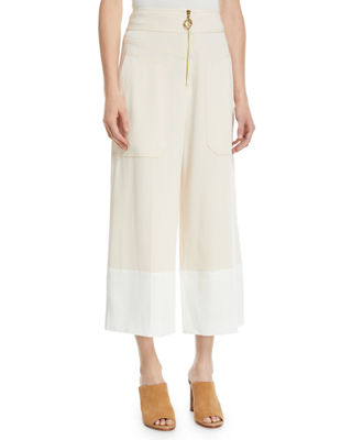 Derek Lam 10 Crosby Wide-Leg Cropped Crepe Pants