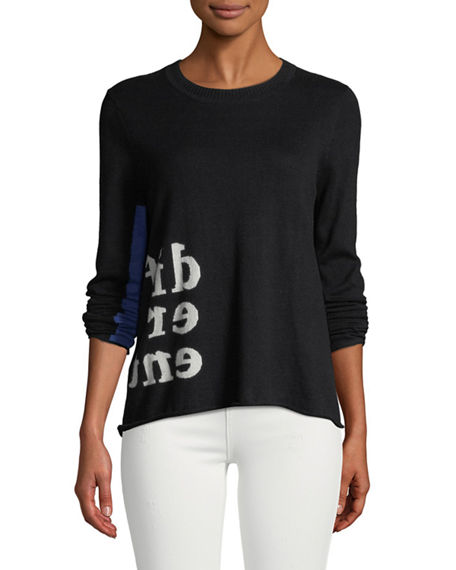 Lisa Todd DIFFERENT INTARSIA COTTON SWEATER WITH COLOR POP SLEEVE