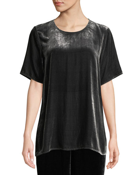 Eileen Fisher Petite Short-Sleeve Velvet Box Top