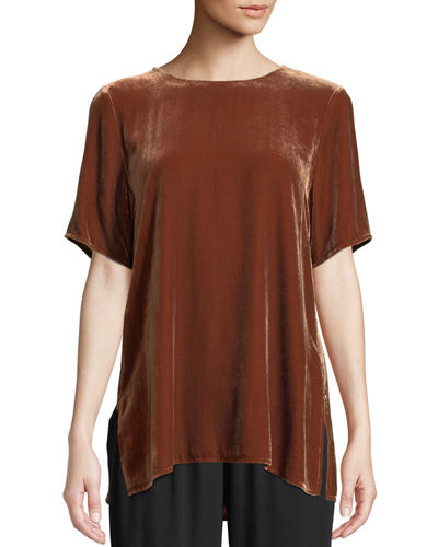 Short-Sleeve Velvet Box Top, Petite