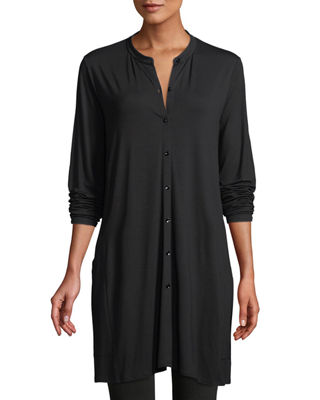 Eileen Fisher Viscose Jersey Button-Front Tunic, Petite