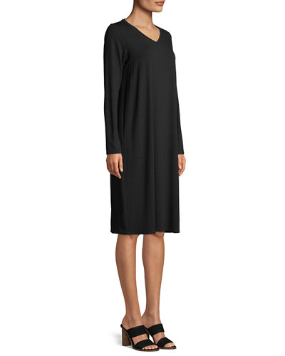 Long-Sleeve Viscose Jersey Dress, Petite