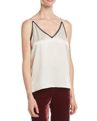 Lace-Trim Silk Charmeuse Cami Top