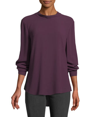 Eileen Fisher Back-Tie Long-Sleeve Silk Blouse and Matching