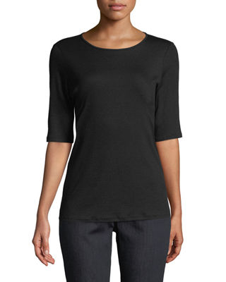 Eileen Fisher Half-Sleeve Micro Tencel Tee