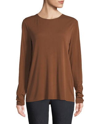 Eileen Fisher Crewneck Stretch Silk Jersey Top, Plus