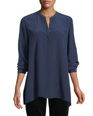 Eileen Fisher Long-Sleeve Silk Crepe de Chine Boyfriend