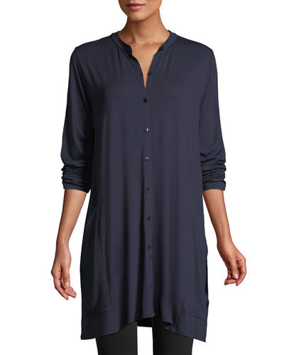 Viscose Jersey Button-Front Tunic, Plus