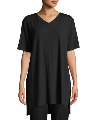 Eileen Fisher Short-Sleeve V-Neck Jersey Tunic