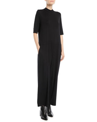 Eileen Fisher Half-Sleeve Mock-Neck Jersey Jumpsuit