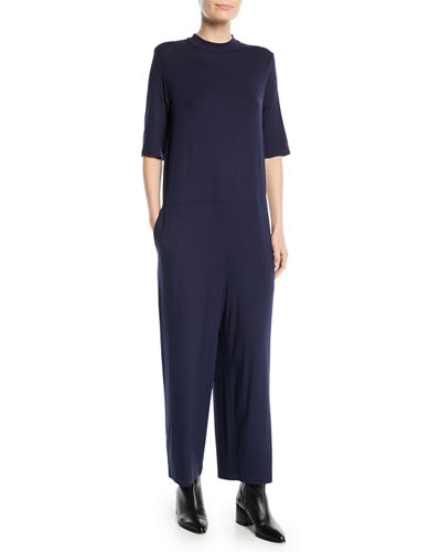 Half-Sleeve Mock-Neck Jersey Jumpsuit