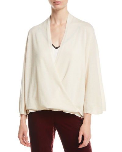 Cashmere Faux-Wrap Top