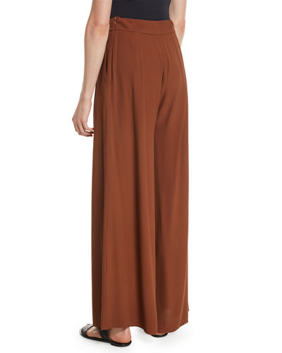 Silk Georgette Wide-Leg Pants, Petite