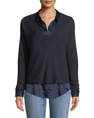 Eileen Fisher Silk-Blend V-Neck Boxy Sweater and Matching