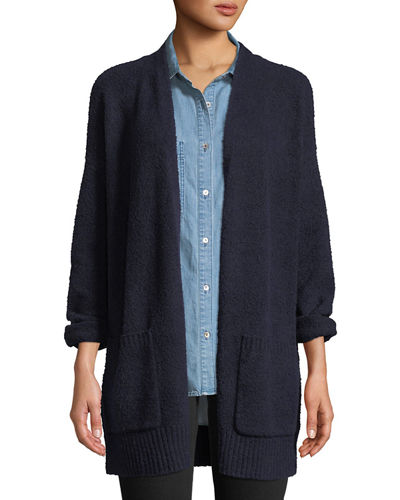 Cotton Fluff Two-Pocket Cardigan, Plus Size