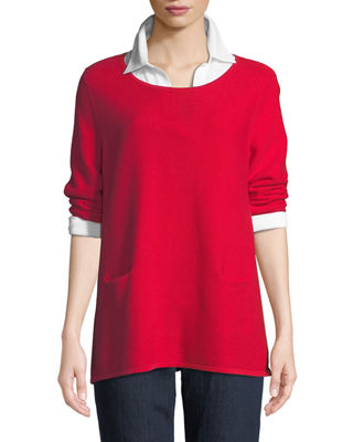 Joan Vass Two-Pocket Cotton Sweater