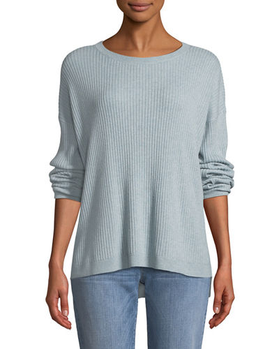 Ribbed Long-Sleeve Cashmere Sweater