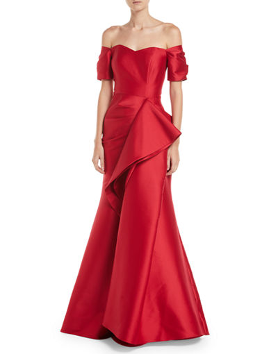 Badgley Mischka Collection Off-the-Shoulder Gown w/ Dramatic