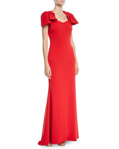Crepe Column Gown w/ Twist Cap Sleeves