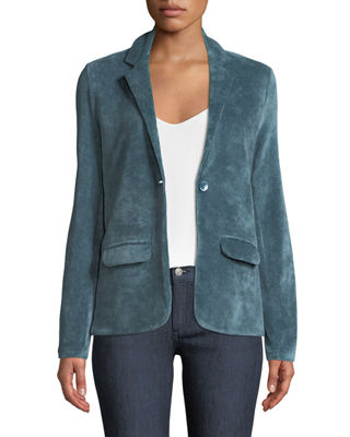 Majestic Paris for Neiman Marcus Single-Breasted Velour Blazer